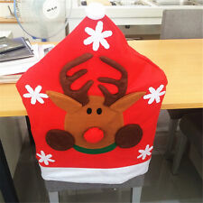 Cute Red Xmas Environmental Non-Woven semi-hand Christmas elk Chair Cover
