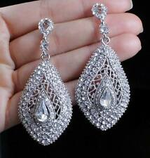DROP AUSTRIAN CRYSTAL RHINESTONE SILVER CHANDELIER DANGLE EARRINGS WEDDING E2092