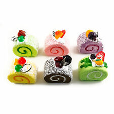 3D Refrigerator Fridge Magnet Fake Faux Food Cake Roll Dessert Sweets Treat 6 PC