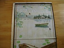 Lakeside Retreat Enjoy The Moment Fishing Boat Cabin Cotton Quilt Fabric Panel