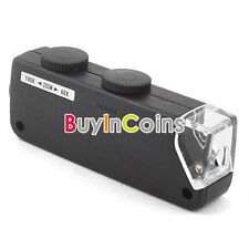 Mini LED 60X-100X Magnifier Jeweler Loupe Microscope Easy Carry
