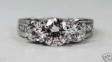 14k Solid White Gold Ring Three Stone Round CZ Anniversary Ring w Accents (4ctw)
