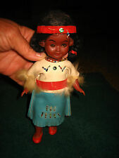 VTG HARD PLASTIC INDIAN GIRL DOLL~EYES OPEN & CLOSE~ FROM THE 60'S~APPROX. 8""