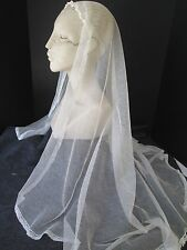 EXQUISITE 1950's VINTAGE WHITE  NET BRIDAL WEDDING VEIL