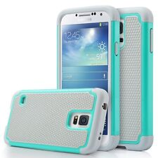Samsung Galaxy S5 Neo Rugged Rubber Dual Layer Impact Hybrid Case - Teal / Gray