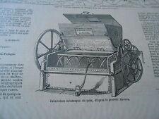 Gravure 1863 - Fabrication mécanique du pain d'après procédé Stevens