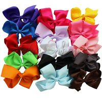 15pcs 6'' Big Boutique Girls Baby Kids Hair Bows Alligator Clip Grosgrain Ribbon