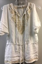 FOREVER 21 Cotton Tunic Short Open Sleeve Ivory Casual  Lace Trim Beads S 5 6 7