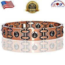COPPER HEMATITE MAGNETIC GOLF BRACELET MEN WOMEN ARTHRITIS  PAIN RELIEF HM01