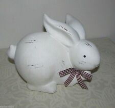 Ivory Bunny Rabbit Statue Ceramic Terracotta w/Gingham Bow Spring Bunny Figurine