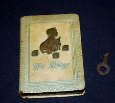 "VINTAGE ""FOR BABY"" BOOK SHAPED STILL BANK – SOCIETY FOR SAVINGS W/KEY - THRIFT"