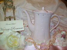 Pale Pink Cream Lace Fine Porcelain Teapot by Skye McGhie Fleur de lis Rare
