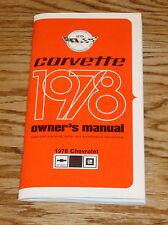 1978 Chevrolet Corvette Owners Operators Manual 78 Chevy