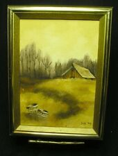 Original Oil Painting on Canvas-Pastoral Farm Scene w/ Oak Buckets,8x6 in.Signed