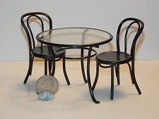 Dollhouse Miniature Black Metal Table & Chairs 1:12  one inch scale     F20