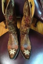 nwob Old Gringo  Ginger Womens  Vesuvio Brass/Green Leather Cowboy Boots 9.5 B