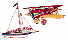 """2.5"""" KIDSLINE ANTIQUE TOY BOYS BOAT PLANE NURSERY PREPASTED WALL BORDER CUT OUT"""