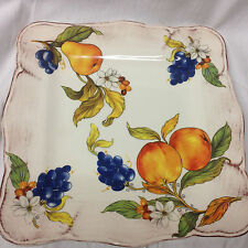 "SUR LA TABLE FRUTTA SQUARE DINNER PLATE 11 3/4"" FRUIT SCALLOPED ITALY"