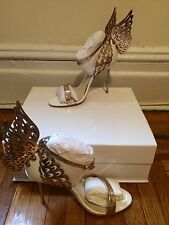 Sophia Webster Evangeline Winged Leather White and Gold Sandals Sz 37