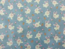 MICHAEL MILLER 100% BRUSHED COTTON BUNNY LOVE BLUE SOFT CRAFT DRESSMAKING FABRIC