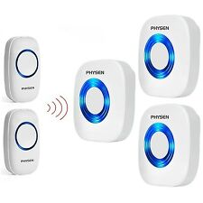 PHYSEN Model CW Wireless Doorbell kit with 2 Push Buttons and 3 Plugin Receiv...