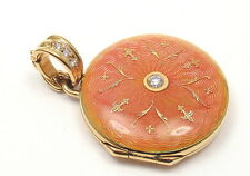 Authentic! FABERGE 18k Yellow Gold Diamond Orange Pink Enamel Locket Pendant Box