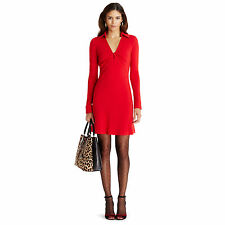 NWT DVF Diane von Furstenberg 12 Red 100% Wool Long Sleeve Twist Career Dress