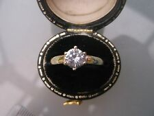 Women's 9ct Gold CZ Stone Solitaire Ring Hallmarked W2.4g Size P Stones 0.90ct