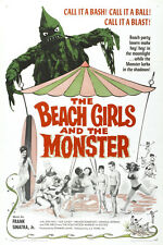 VINTAGE - THE BEACH GIRLS AND THE MONSTER MOVIE POSTER 12X18