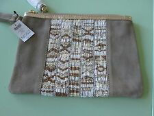 Chico's-Callie Beaded Clutch-Cream-Suede leather-zipper-Wrist strap-Orig $59-New