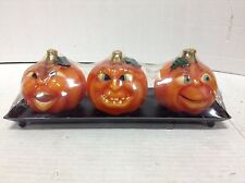 3 Halloween Pumpkin Jack o Lantern Candles Fall Party Decorations Metal Tray