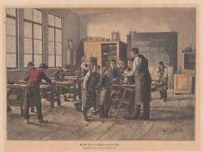 Bottega di falegnameria falegname mestieri  xilografia acquarellata fine 800
