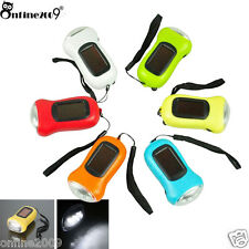3LED Hand Crank Dynamo Solar Power Rechargeable Flashlight for Carabiner Camping