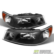 1998-2002 Lincoln Town Car Blk Headlights Replacement Head Lamps Left+Right Pair