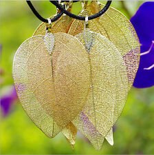 Unique Real Nature Leaf Pendant Dipped 24K Gold Plated Filigree Necklace