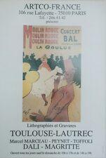 """""""MOULIN ROUGE / EXPO TOULOUSE-LAUTREC"""" Affiche originale entoilée 44x63cm"""