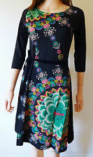 New Desigual Ladies Dress 'DUCK' 3/4 Sleeve, Black, Size M
