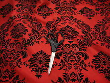 "10 Yards RED Black Flocking Damask Taffeta 3D Fabric 57"" Flocked Velvet"