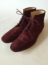 PAUL SMITH DARJEELING BOOT SUEDE WINGTIP IN BORDEAUX, Men's US 11, UK 10