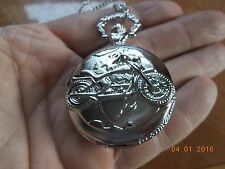 """New Quartz Pocket Watch with Motorcycle on the Cover, Includes 32"""" chain"""