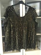 248 George Sz 24 Black&Gold Flapper Style Tiered Layered Soft Stretch Party Top
