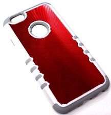"for iPhone 6/6S (4.7"") SLIM Red Back Plate Gray Rubber Hybrid Armor Skin Case"