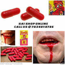 12Pcs Costume Fake Blood Pill Capsules Horror Funny Halloween Gag Joke Party Set