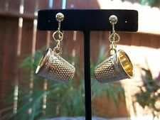 Gorgeous Goldtone Rings & Thimble Shaped Drop Dangling Clip Earrings
