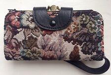 Rétro vintage 1960s 70s floral tapestry femmes argent sac à main portefeuille poignet