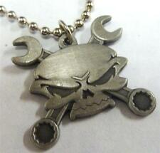 SKULL Crossed Wrench Bones Biker Harley Motorcycle Mechanic Pendant Necklace
