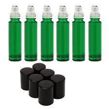 Green glass 10ml roller bottles metal rollers black caps (10 bottles) coloured