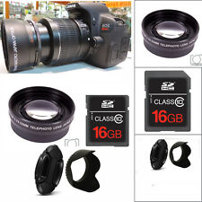 HD  ZOOM LENS +16GB STARTER KIT FOR CANON EOS REBEL DSLR T6 T3 T2 SL1 XT XSI T3I