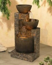Water Fountain Outdoor-Indoor Floor 2-Basins Portable Crafted Polynesian