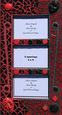 Picture Frame Black & Red Face Mosaic  Handmade Look Great in your Home - FR105